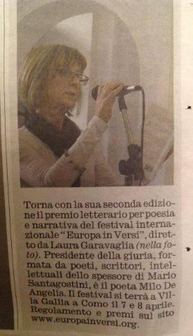 Articolo giornalistico Corriere di Como