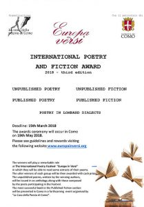 Flyer of the International Poetry and Fiction Award Europa in versi 2018
