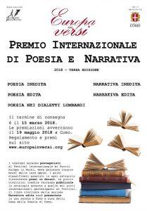 Locandina del Premio Internazionale di Poesia e Narrativa Europa in versi 2018