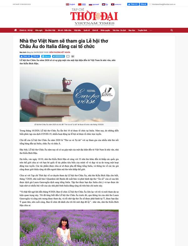 INTERVISTA A KIEU BICH HAU SU RIVISTA VIETNAM TIMES